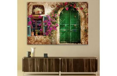 srkm59 - Begonvil Çiçekleri ve Yeşil Kapılı Taş Ev Dekoratif kanvas tablo