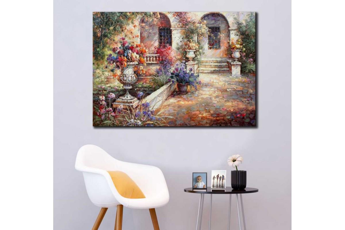 srkm61 - Yağlı Boya Görünümlü Taş Ev ve Çiçekli Bahçe Dekoratif kanvas tablo
