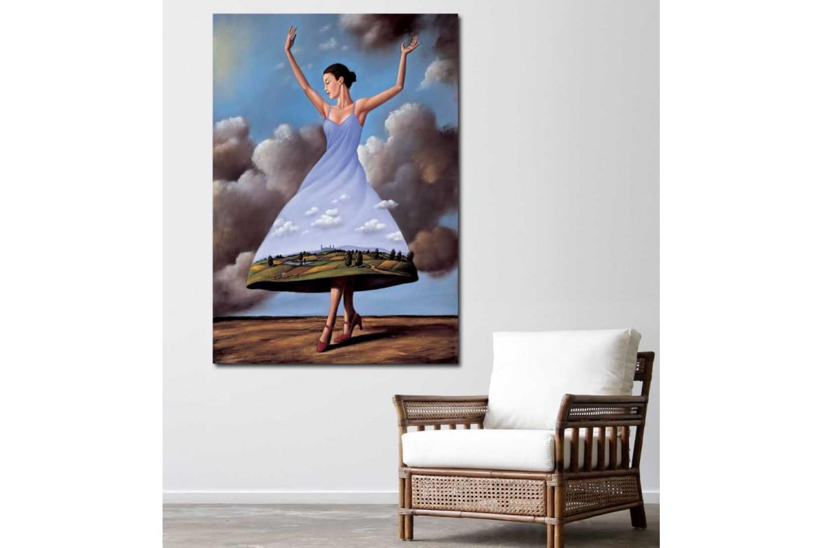 srks73 - Bulutların Üzerinde Dans Eden Kadın Sürrealist Kanvas Tablo