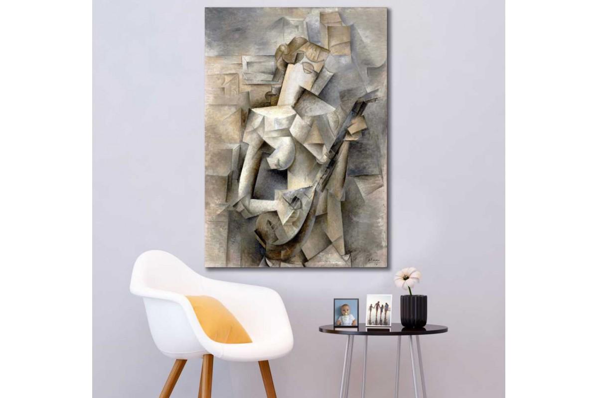 srpp2 - Pablo Picasso Girl with a Mandolin - Mandolin Çalan Kız Sürreal kanvas tablo
