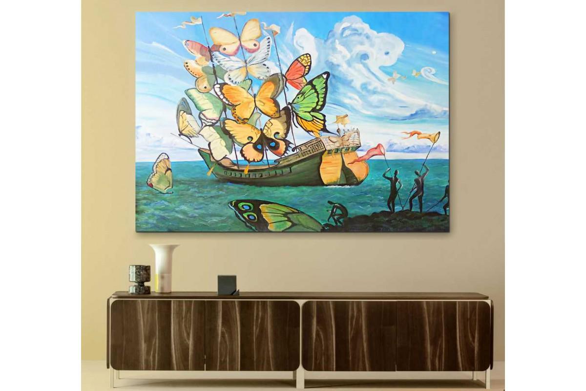 srsd9 - Salvador Dali Kelebek Kanatlarından Yelkenli Gemi Sürrealist Kanvas Tablo