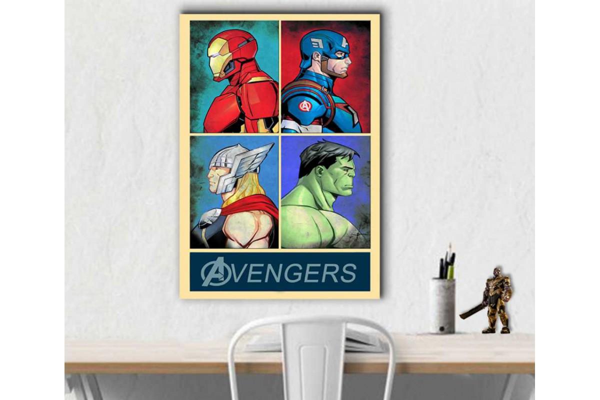 srsh51 - Ironman, Captain America, Thor ve Hulk Avengers Poster Stili Retro Kanvas Tablo