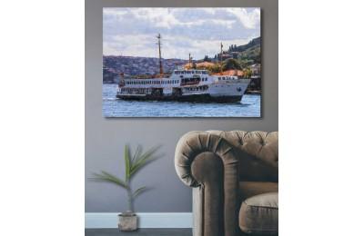 srst6 - İstanbul Boğaz Manzarası Şehir Hatları Vapuru Yağlı boya görünümlü Kanvas Tablo