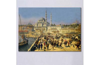 srst7 - Dijital Restorasyon Çalışmamız, Osmanlı Dönemi Galata Köprüsü ve Yeni Cami Kanvas Tablo