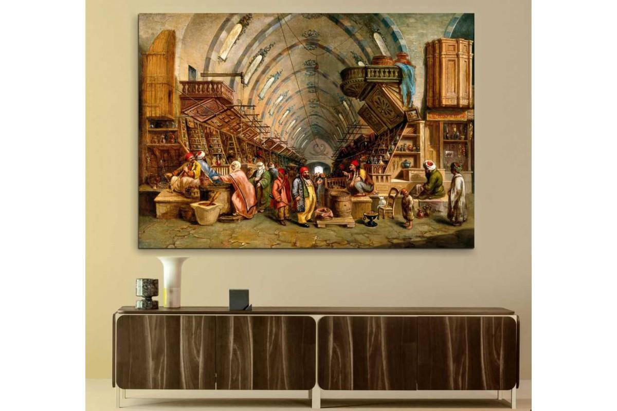 srst8 - Osmanlı Dönemi İstanbul Mısır Çarşısı Yağlı Boya Görünümlü kanvas tablo