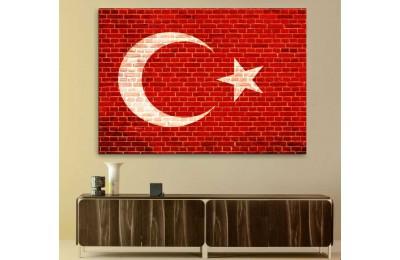 srtr5 - Tuğla Duvar Görünümlü Türk Bayrağı Kanvas Tablo