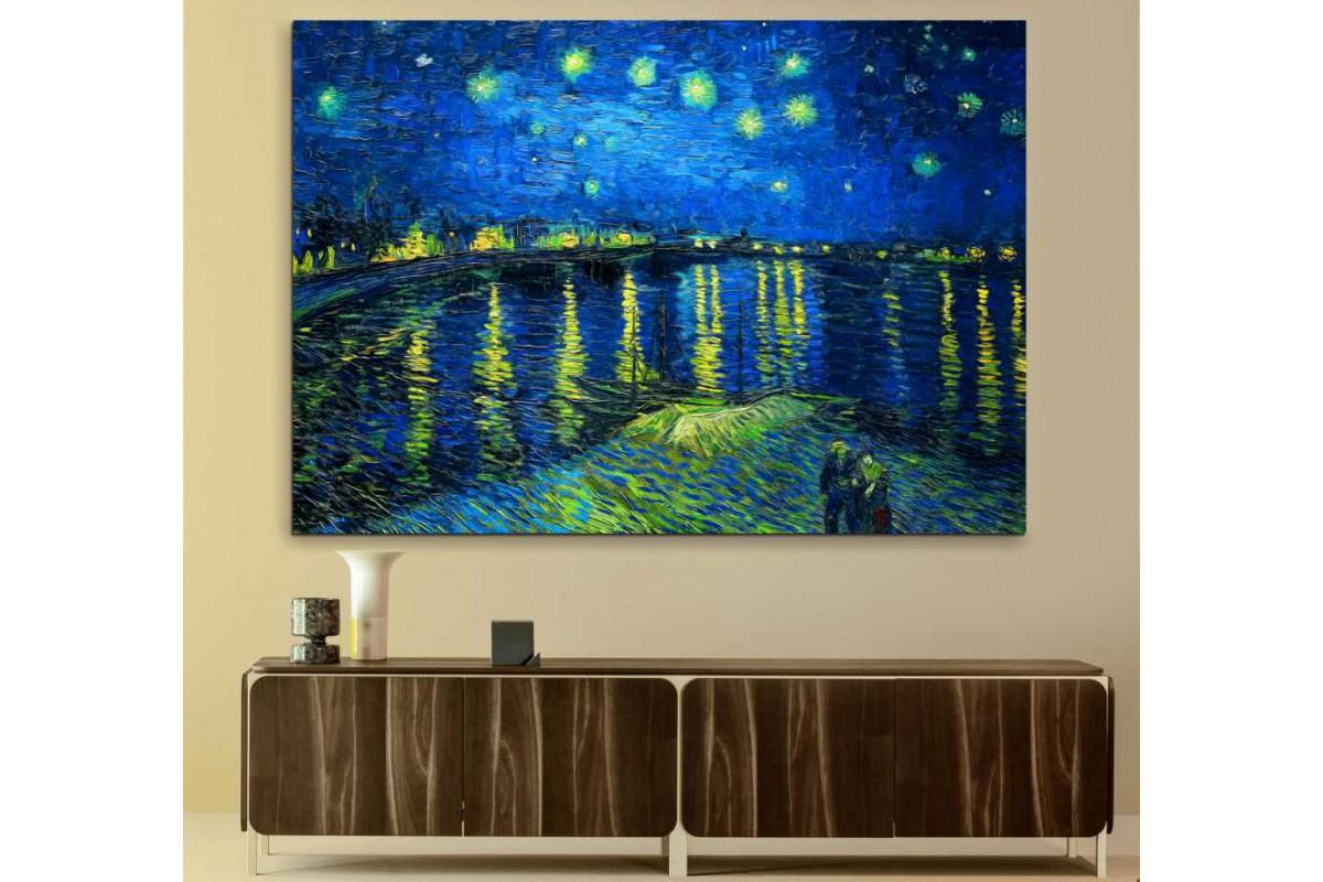 srvg7 - Van Gogh Starry Night Over the Rhone - Rhone Üzerinde Yıldızlı Gece Soyut Kanvas Tablo