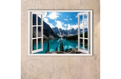 srw13 - Açılan Pencereden Dağ, Göl ve Orman Manzarası kanvas tablo