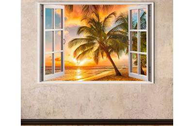 srw15 - Açılan Pencereden Tropikal Deniz Manzarası Kanvas Tablo