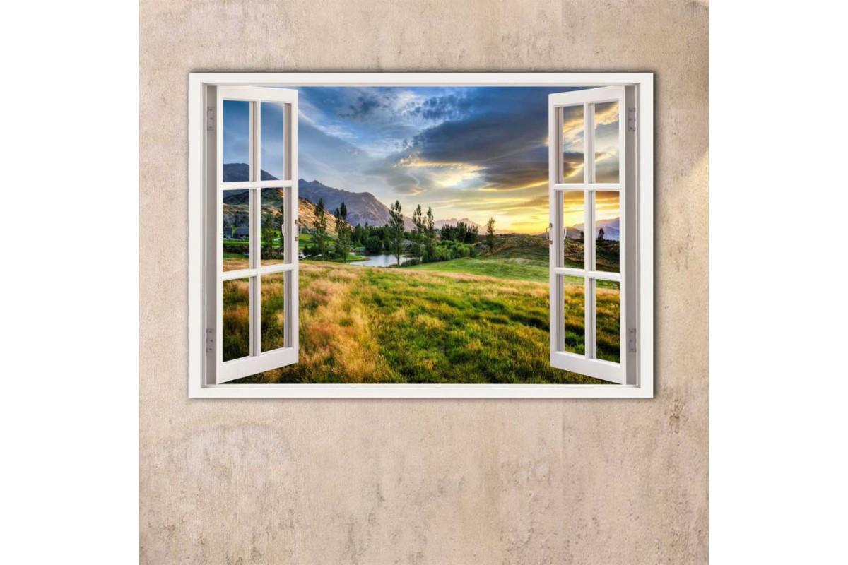 srw16 - Dağ ve Göl Manzaralı Açılır Pencere Kanvas Tablo