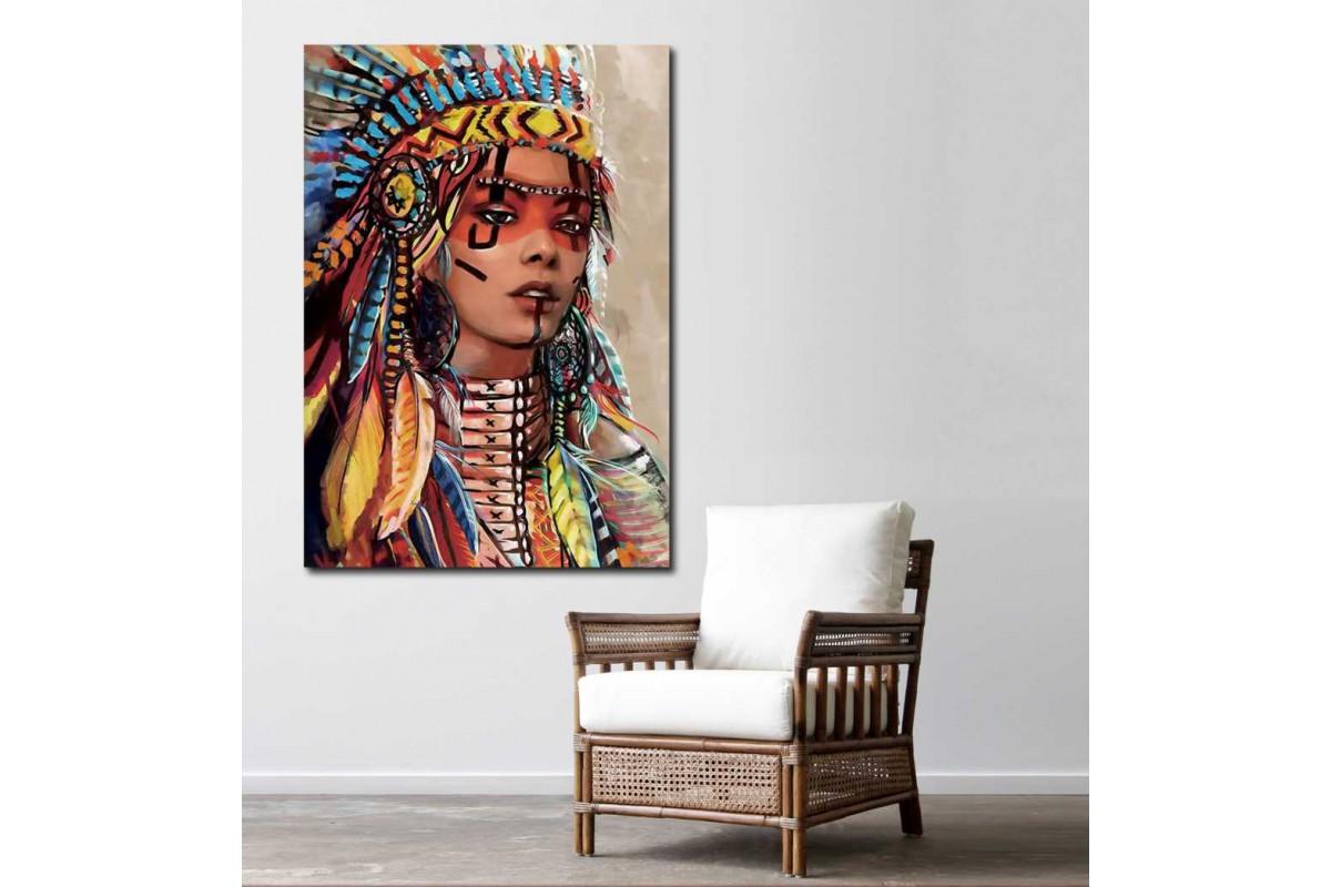 sye42c - Yağlı Boya Görünümlü Kızılderili Kadın ve Tüyler Dekoratif Kanvas Tablo