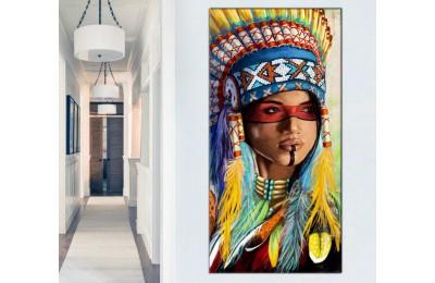 sye42d - Yağlı Boya Görünümlü Kızılderili Kız Ve Tüyler Dekoratif Kanvas Tablo