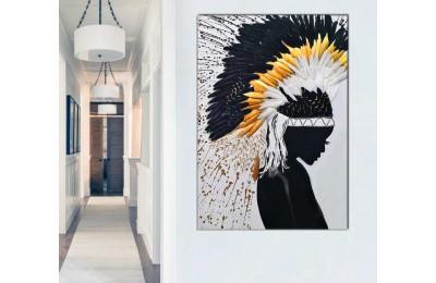 sye42e - Modern Sanat Apache Kızılderili Kadın ve Tüyler Dekoratif Kanvas Tablo