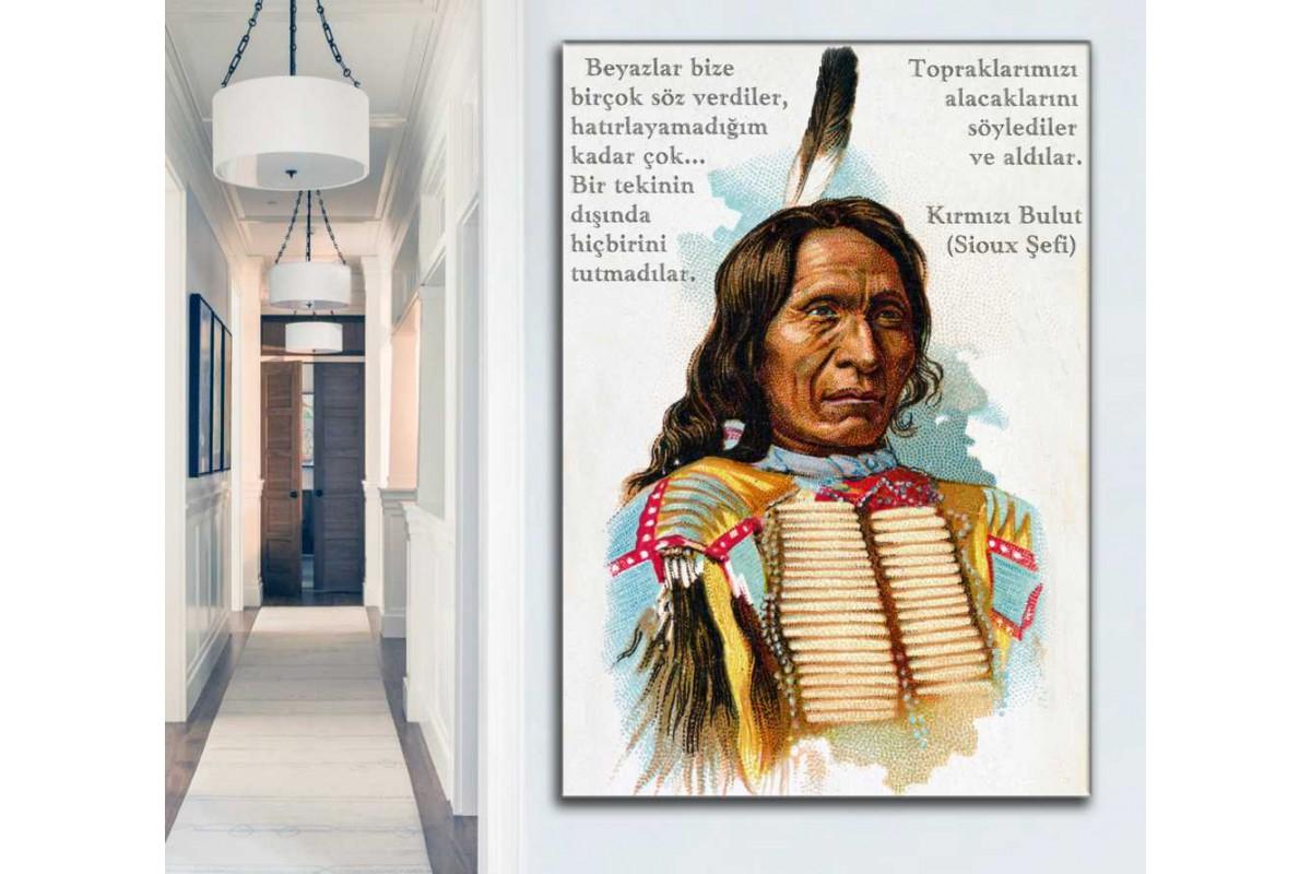 sye69 - Sioux Şefi Kızılderili Kırmızı Bulut ve Beyaz Adam Hakkındaki Sözleri Kanvas Tablo