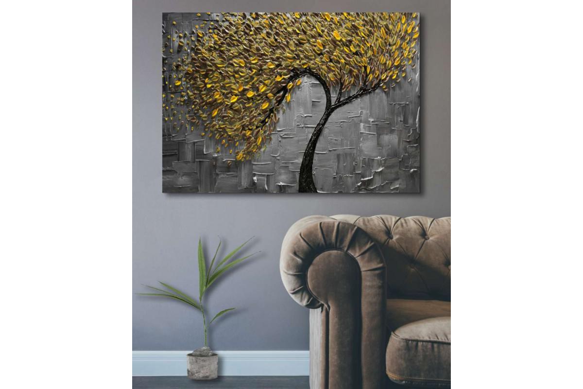 srdk18 - Dekoratif Yağlı Boya Görünümlü Altın Yapraklı Ağaç Kanvas Tablo