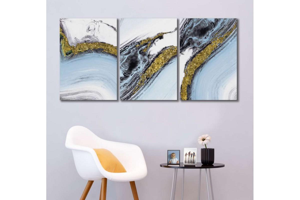 srdk1890 - Beyaz, Mavi ve Altın Sarısı Desenli Soyut Dekoratif Kanvas Tablo Seti