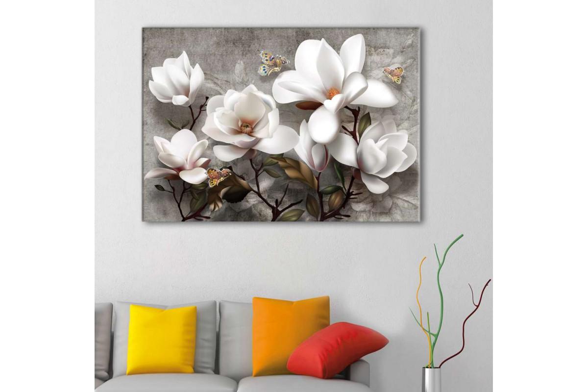 srdk25 - Dekoratif Beyaz Çiçekler ve Kelebekler Kanvas Tablo