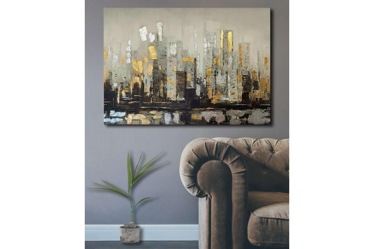 srdk26 - Altın ve Gümüş Görünümlü Şehir Silueti Dekoratif Soyut Kanvas Tablo
