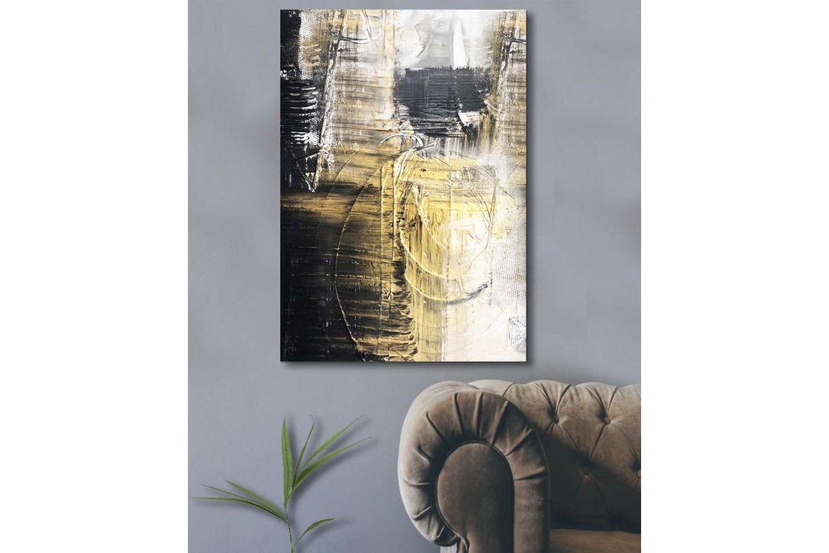 srdk27 - Altın ve Siyah Desenli Yağlı Boya Görünümlü Soyut Kanvas Tablo
