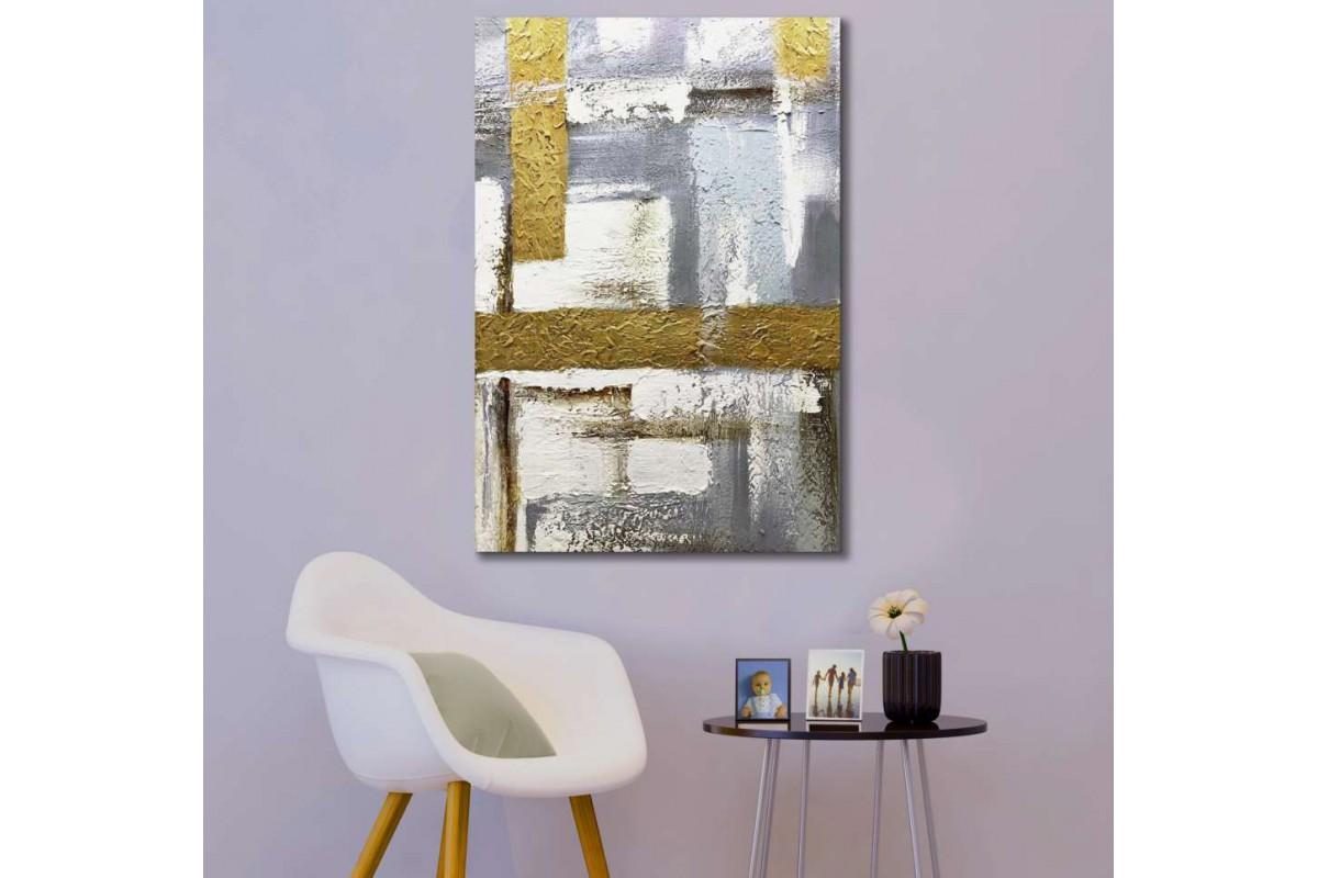 srdk28 - Altın ve Gümüş Renk Tonlarında Soyut Kanvas Tablo
