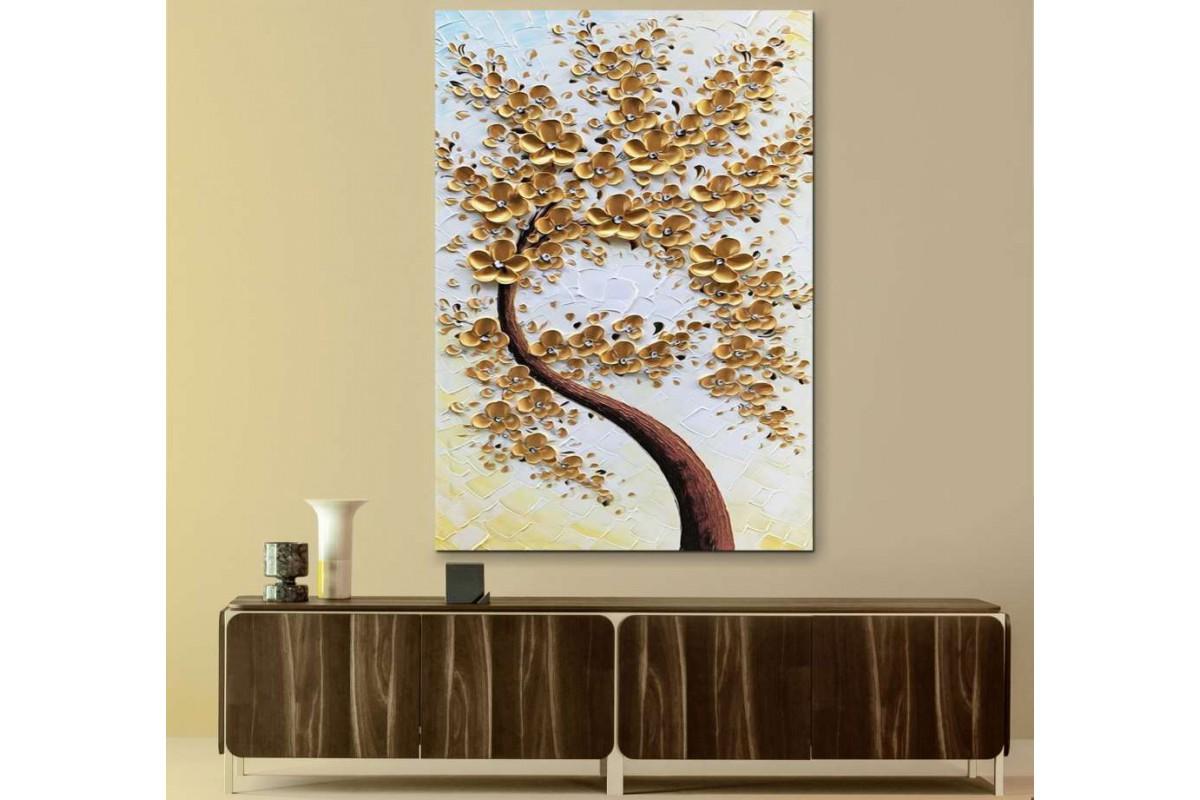 srdk30 - Yağlı Boya Görünümlü Sarı Çiçekli Ağaç Soyut Kanvas Tablo