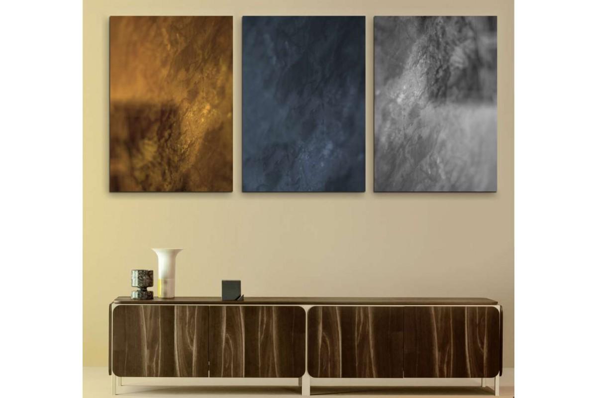 srdk390 - Mermer Desenli Soyut Dekoratif Üçlü Kanvas Tablo Seti