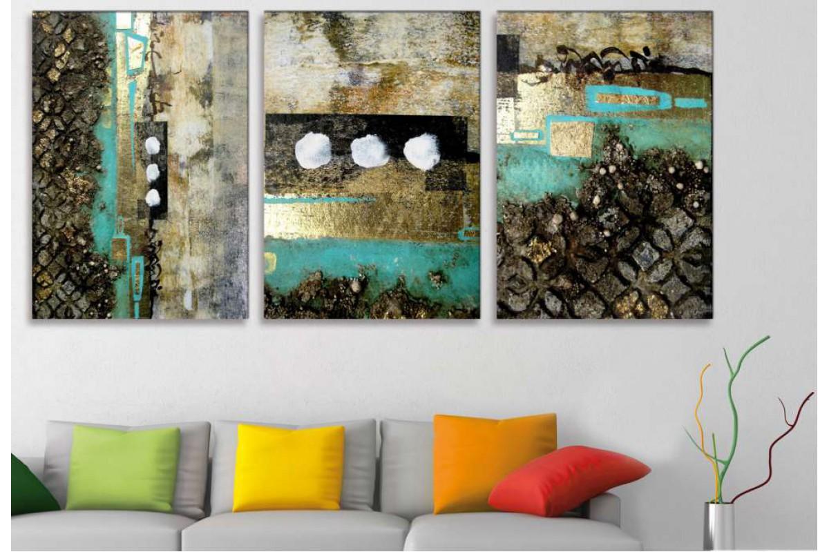 srdk424 - Altın, Turkuaz ve Taş Görünümlü Soyut Kolaj Kanvas Tablo Seti