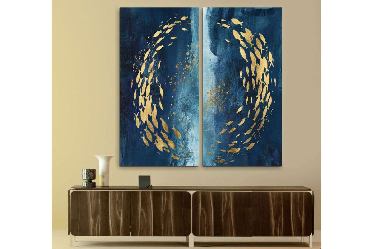 srdk456 - Çember Şeklinde Yüzen Altın Balıkar Dekoratif Kombin Kanvas Tablo Seti