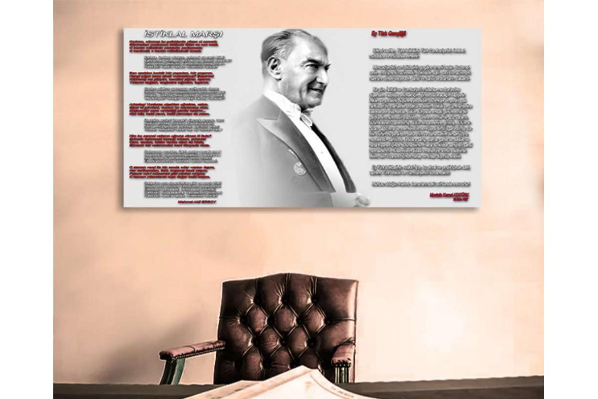srk1923a - Atatürk, İstiklal Marşı ve Gençliğe Hitabe Kanvas Tablo