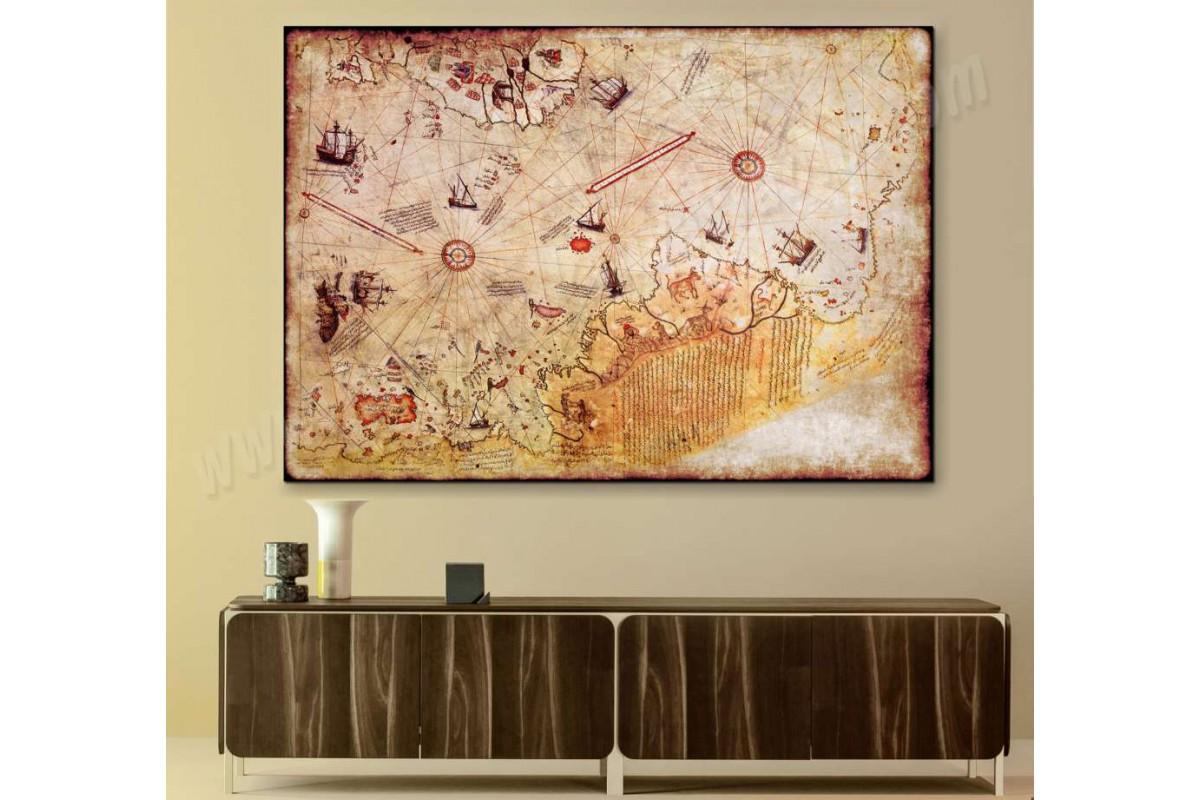 srw12 - Piri Reis Dünya Haritası Dekoratif Kanvas Tablo