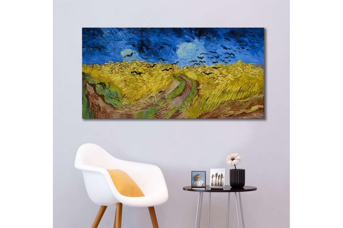 srvg5 - Vincent Van Gogh Kargalarla Buğday Tarlası Soyut Kanvas Tablo