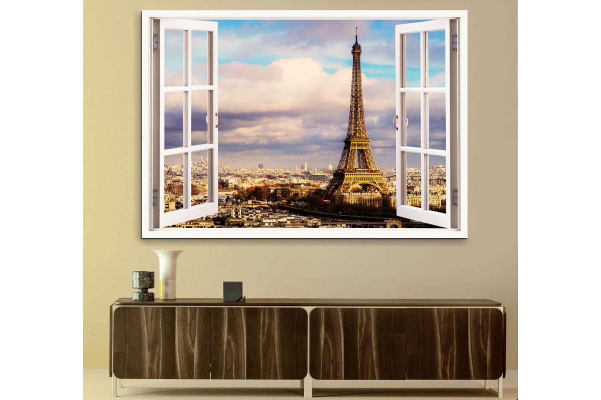 srw09 - Açılan Pencereden Paris Eyfel Kulesi Kanvas Tablo