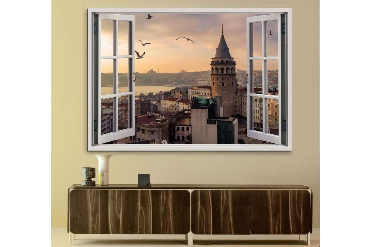 srw11 - Açılan Pencereden Galata Kulesi Manzarası ve Martılar Kanvas Tablo
