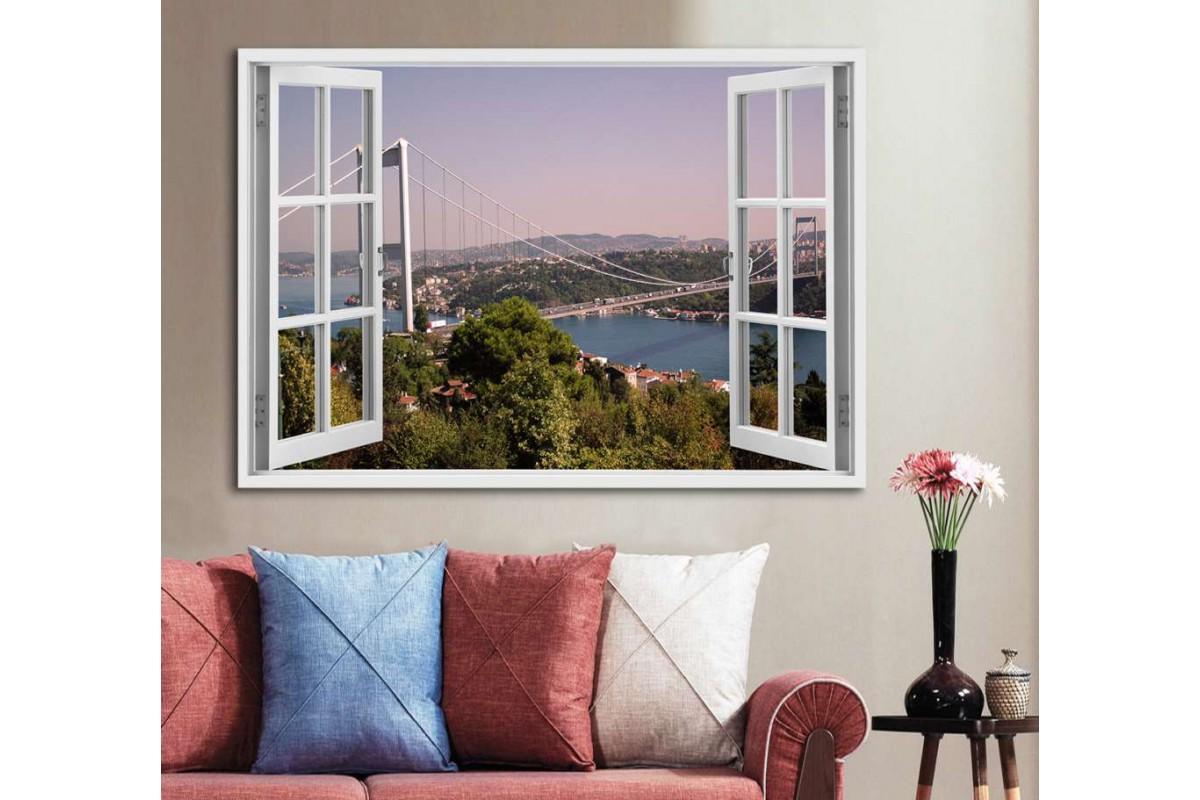 srw12 - Açılan Pencereden İstanbul Boğaz Köprüsü Manzarası Kanvas Tablo