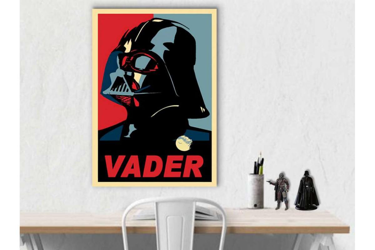 sww32 - Star Wars, Yıldız Savaşları Poster Stili Darth Vader ve Ölüm Yıldızı Kanvas Tablo