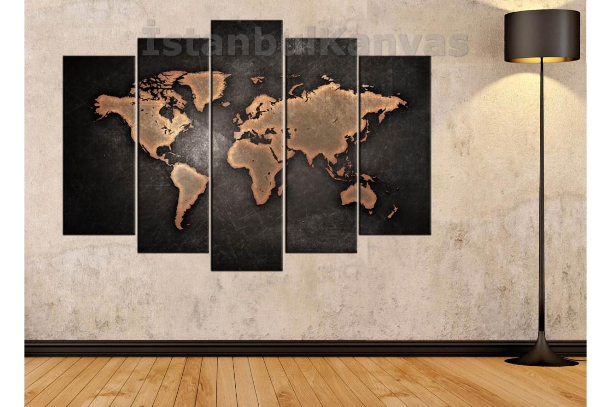 dh10 - Yıpranmış Görünümlü Kahverengi Dünya Haritası Kanvas Tablo