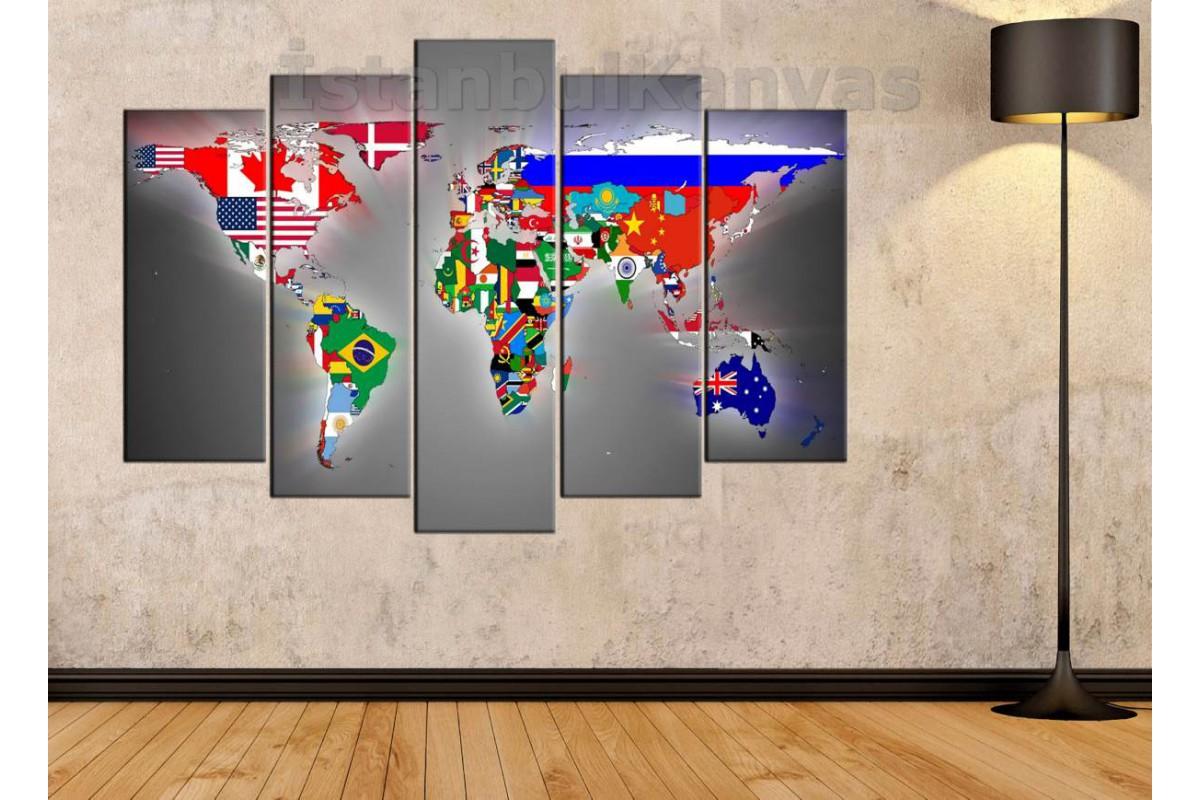 dh11 - Ülkeler ve Bayrakları Dünya Haritası Kanvas Tablo