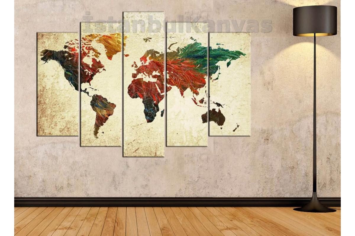 dh12 - Yağlı Boya Görünümlü Dünya Haritası Kanvas Tablo