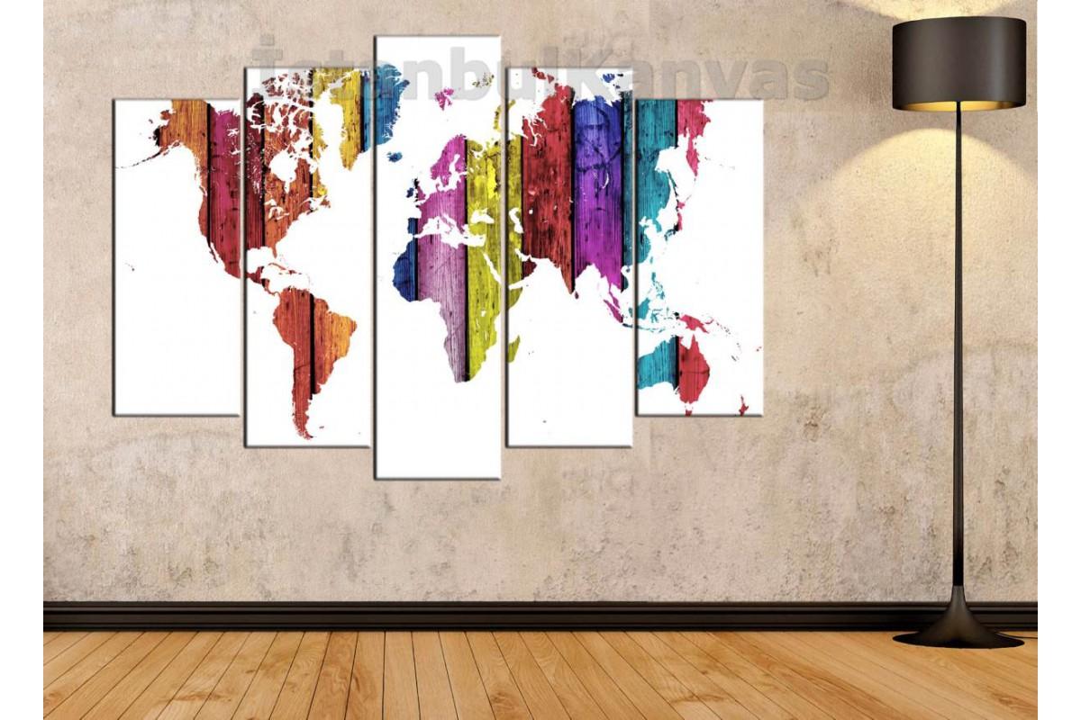 dh13 - Ahşap Görünümlü Renkli Dünya Haritası Kanvas Tablo