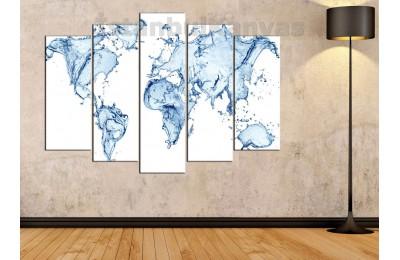 dh14 - Su Damlaları ile Dünya Haritası Kanvas Tablo