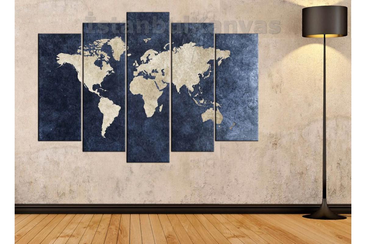 dh18 - Jean Kumaş Görünümlü Dünya Haritası Kanvas Tablo