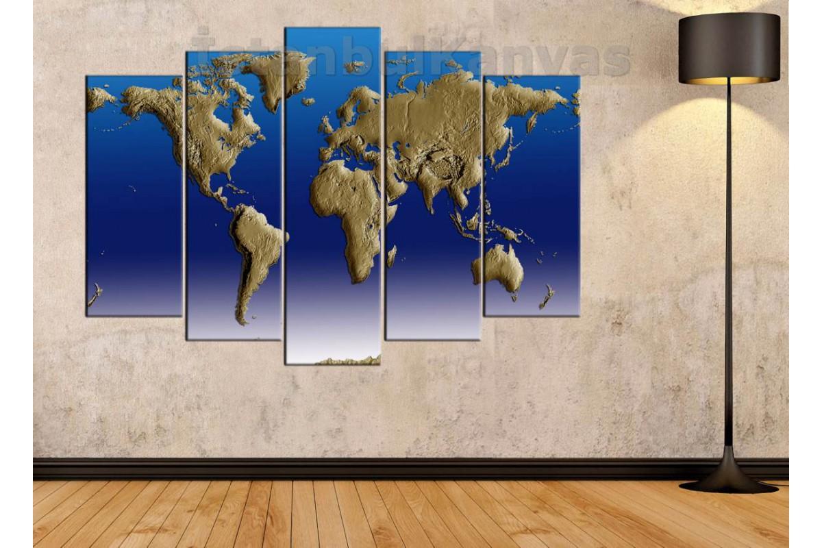 dh19 - 3 boyutlu Görünümlü Fiziki Dünya Haritası Kanvas Tablo