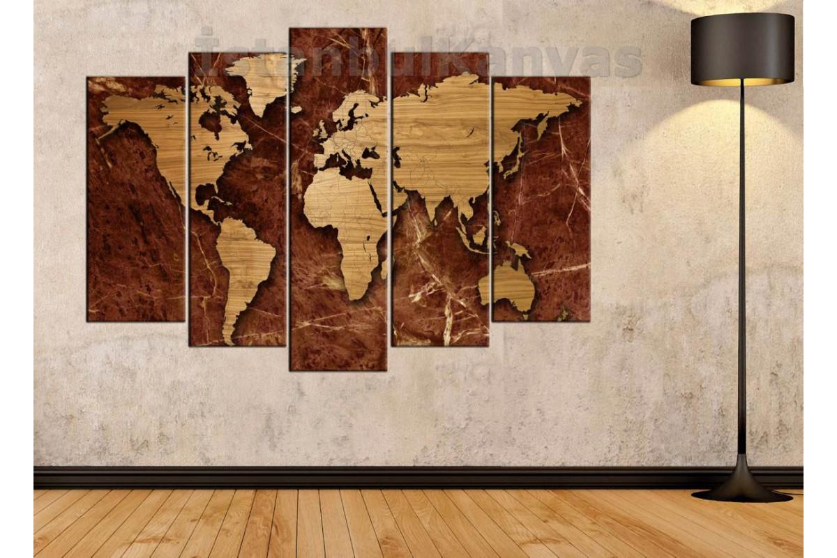 dh2 - Özel Tasarım Mermer ve Ahşap Görünümlü Dünya Haritası Kanvas Tablo