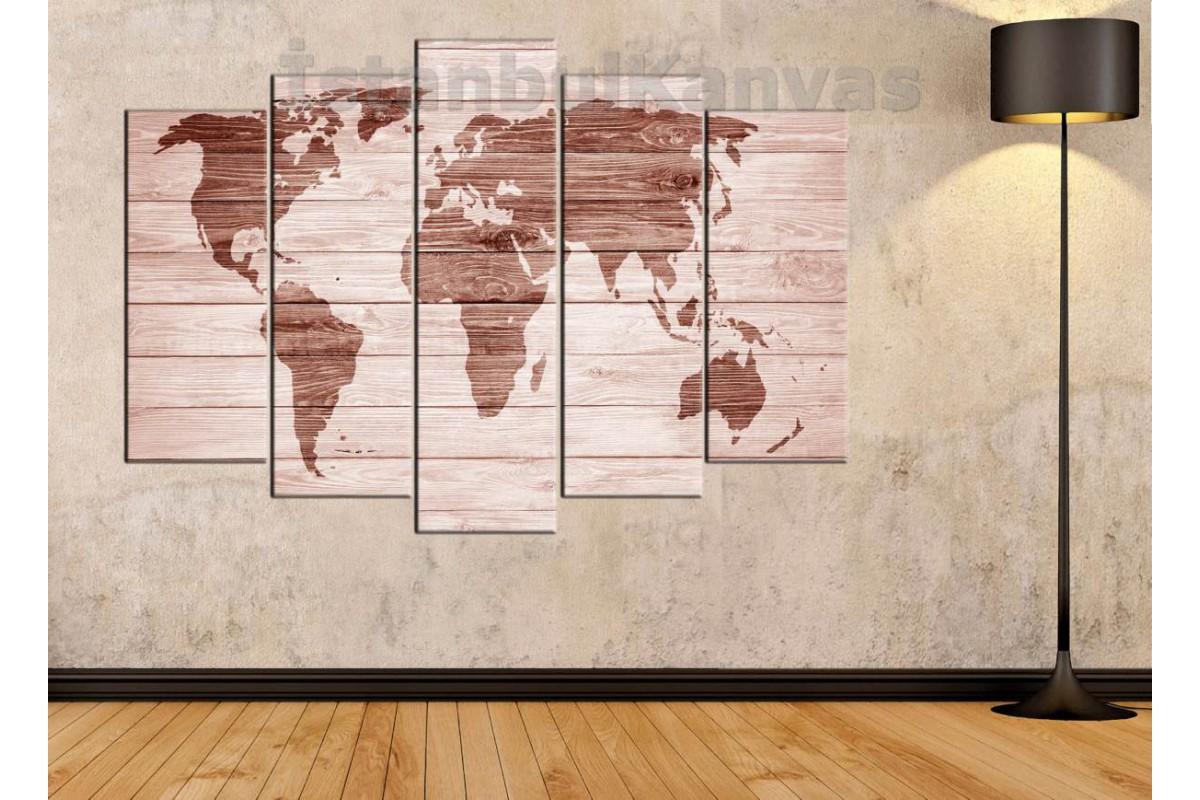 dh20 - Ahşap Yakma Görünümlü Özel Tasarım Dünya Haritası Kanvas Tablo