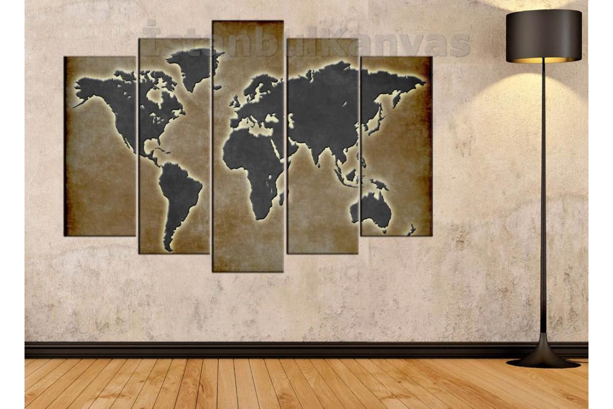 dh21 - Özel Tasarım Eskitme Görünümlü Dünya Haritası Kanvas Tablo