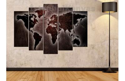 dh22 - Metalik Görünümlü Özel Tasarım Dünya Haritası Kanvas Tablo