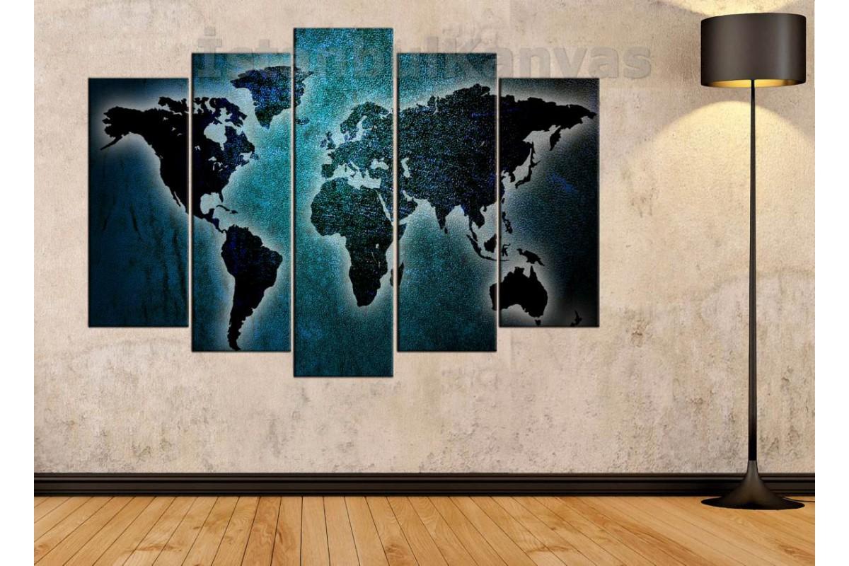 dh23 - Metalik Görünümlü Turkuaz Özel Tasarım Dünya Haritası Kanvas Tablo