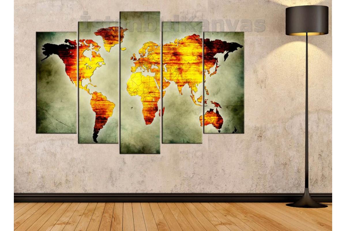 dh24 - Eskitme Görünümlü Özel Tasarım Soyut Dünya Haritası Kanvas Tablo -70x100 cm