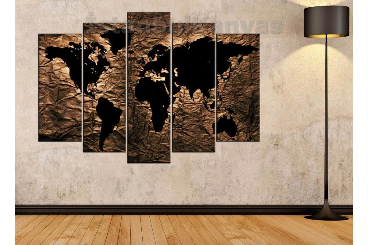 dh25 - Özel Tasarım Kumaş Zemin Görünümlü Dünya Haritası Kanvas Tablo
