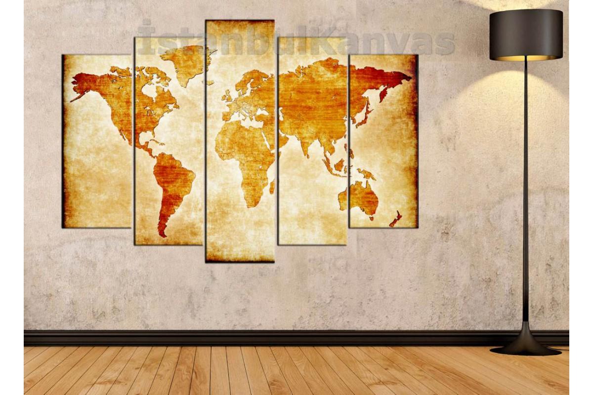 dh26 - Özel Tasarım Eskitme Görünüm Dünya Haritası Kanvas Tablo